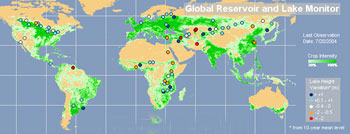 This map shows close to 100 lakes around the world whose water levels are routinely monitored.