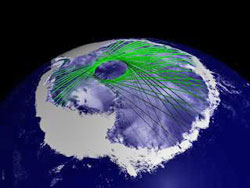 still image from animation of ICESAT crisscrossing Antarctica