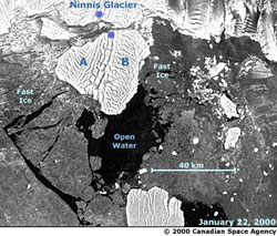 image of the Ninnis glacier