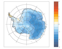 This image shows how temperatures (in degrees Celsius) respond in the Antarctic to a positive shift in the Southern Annular Mode