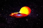 Gas from companion star falls on neutron star
