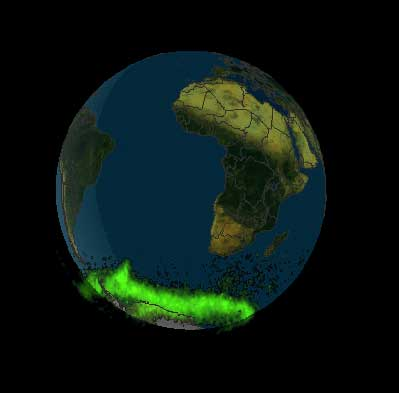 The Polar data, shown in green, are projected on the map of the globe.
