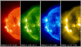 Shown in four extreme ultraviolet wavelengths, the area above the active regions seems to be churning ith strong, well-defined loops of magnetic field activity