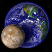 Mars and Earth comparison