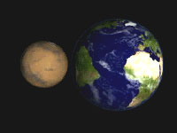 Earth and Mars side-by-side