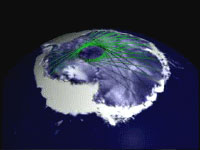 Still from animation showing how the ICESat satellite traverses the Earth, the record of data points increases. Researchers can then map the surface incrementally: as the data record gets denser, the finer the level of detail in some features becomes.