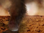 Artist's concept of electrified Martian dust devil