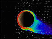 still image from animation showing Mars reaction to solar storms