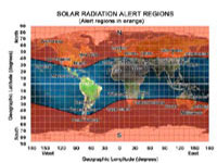 map showing solar radiation