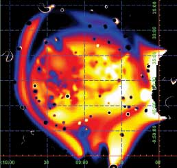 This image shows the temperature of gas in and around the two merging galaxy clusters, based directly on X-ray data.