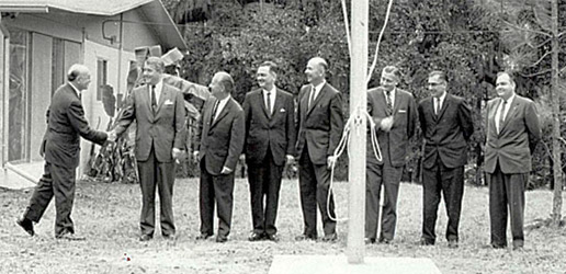 Government officials officially raise the American flag for the first time at the Mississippi Test Operations, now Stennis Space Center, in 1962.