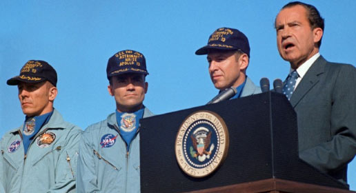 President Richard M. Nixon speaks at Hickham Air Force Base prior to presenting the nation's highest civilian award to the Apollo 13 crew.
