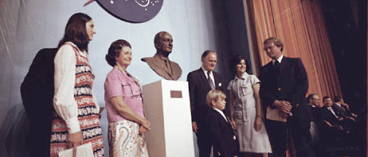 A bust of the late chief executive was unveiled at ceremonies held on August 27, 1973, in Building 1 dedicating the Lyndon B. Johnson Space Center