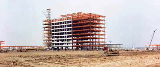 A view of Building 1 as construction continues
