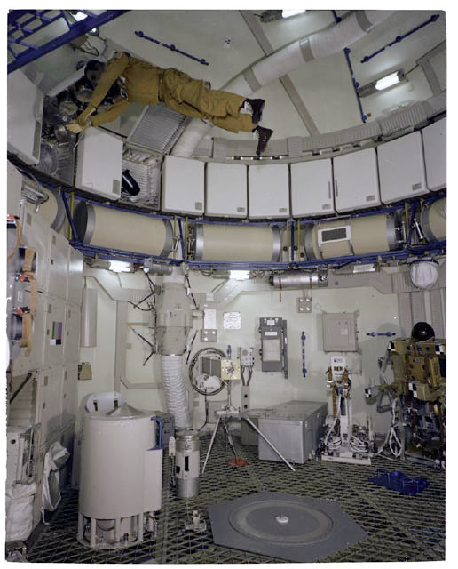 An interior view of the Skylab Orbital Workshop trainer