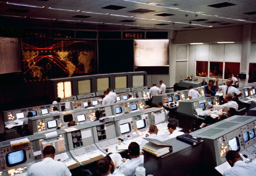 the Mission Control Center during Gemini V