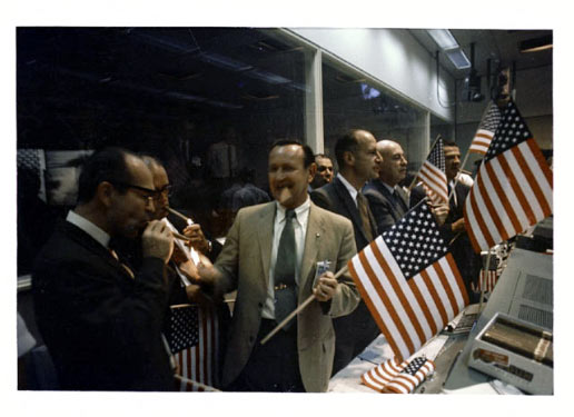 Flight controllers celebrate the Apollo 11 lunar landing