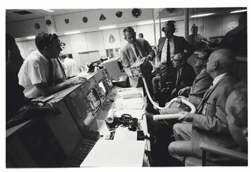 NASA officials in the Mission Control Center during Apollo 13