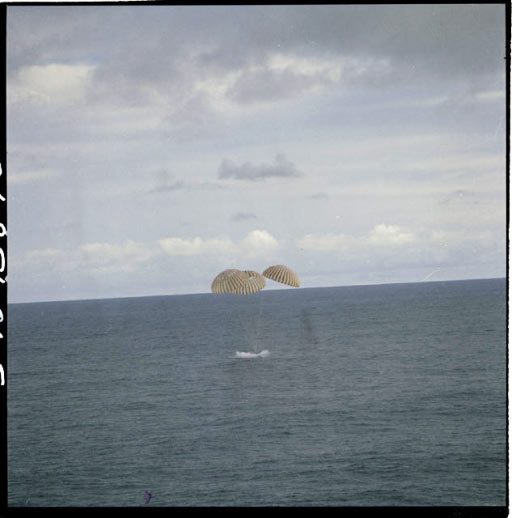 The Apollo 13 Command Module splashes down in the South Pacific Ocean