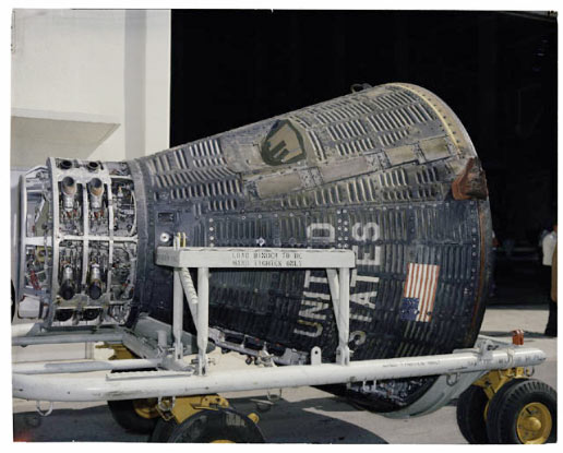 The recovered Gemini V spacecraft