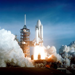 Space Shuttle Columbia launches on April 12, 1981