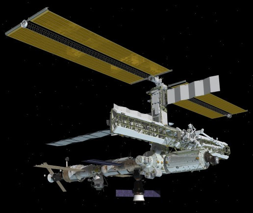 Computer-generated artist's rendering of the International Space Station