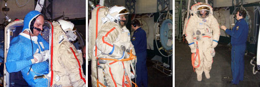 While in Russia, Astronaut Clayton Anderson trains for a spacewalk in a Russian Orlan spacesuit