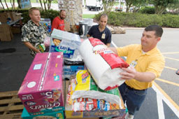 A food drive at the Johnson Space Center