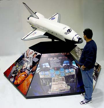 A 1/15 scale rotating space shuttle orbiter