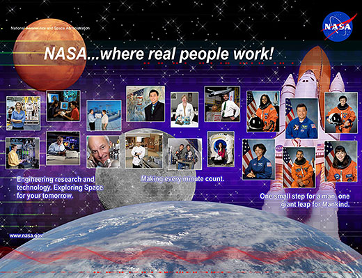 A pop-up structure illustrating the various employment opportunities available at NASA.