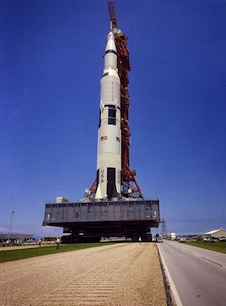 Ground-level view of the 363-ft. tall Apollo 11 Saturn V on the crawler way on May 20, 1969