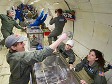 jsc2012e024799 -- Educators investigate how a slinky behaves in microgravity