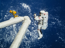 sts064-115-021 -- NASA's Simplified Aid for EVA Rescue (SAFER) technology emerged from the zip gun used by Ed White during the first spacewalk in 1965