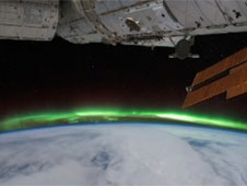 International Space Station and aurora