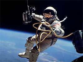 Astronaut Edward H. White II is photographed during the first ever extravehicular activity by an American