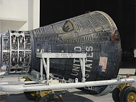 The recovered Gemini V spacecraft is delivered back to the NASA facility at Cape Kennedy, Florida, following the successful third human Gemini mission in August of 1965