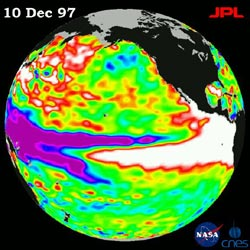 TOPEX/Poseiden satellite data of Pacific Ocean, Dec. 10, 1997