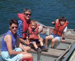 Helen Worden and family on a boat