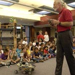 JPL's Art Hammon gives students a lesson about remote control rovers
