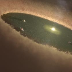 artist's concept illustrates one interpretation of the data, which attributes the disk gap to planet formation