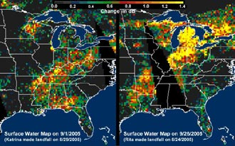pattern of rainwater deposited by Hurricanes Katrina and Rita