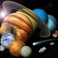 artist concept of solar system montage