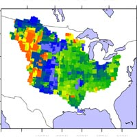 Grace data combined with models showing measurement of the Mississippi River basin