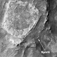 Rover Spirit as viewed by NASA's Mars Reconnaissance Orbiter