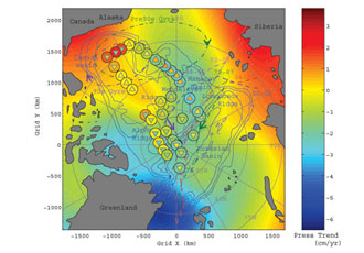 This shows contours of the trend in ocean bottom pressure from 2002 to 2006