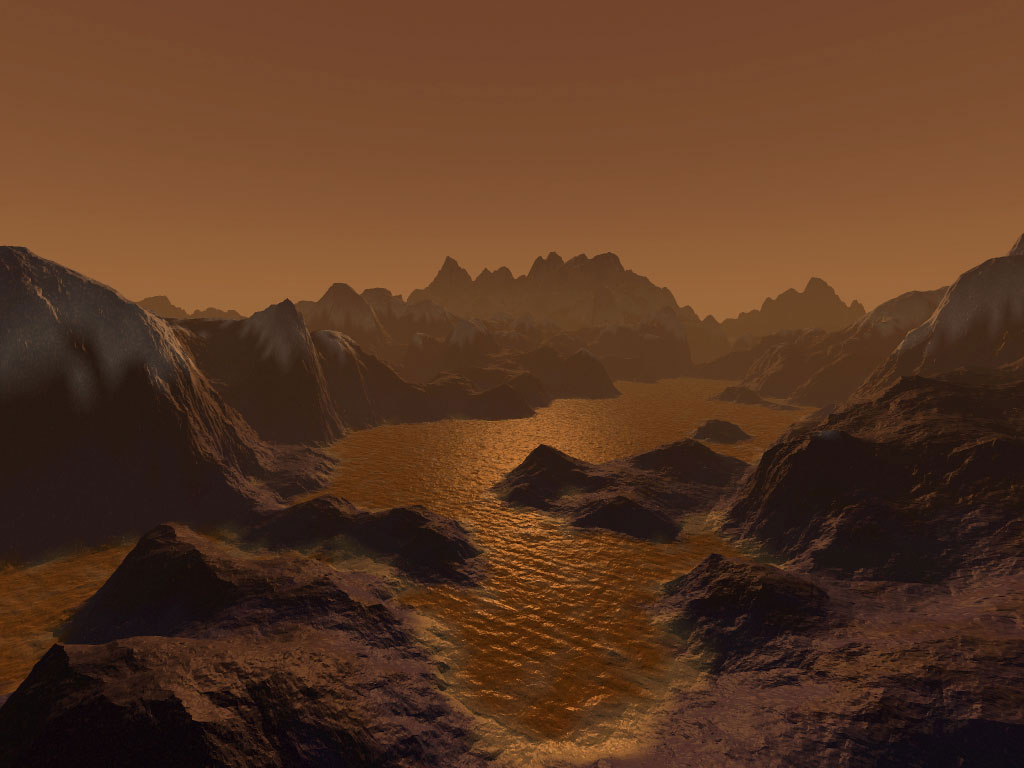 Artists concept of Titan surface beneath its foggy atmosphere. Courtesy NASA. Click to embiggenate.