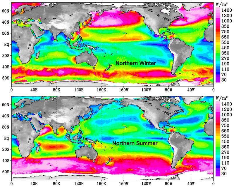 Nasa ocean wind power maps reveal possible wind energy sources wind power density over oceans in northern hemisphere gumiabroncs Gallery