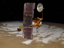 NASA's Mars Odyssey spacecraft passes above Mars' south pole in this artist's concept illustration.