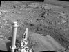 Spirit used its navigation camera to take the images that have been combined into this 180-degree view of the rover's surroundings during the 1,823rd Martian day, or sol, of Spirit's surface mission