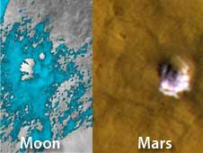 evidence of water molecules on the moon (left) and ice on Mars (right)